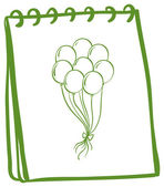 A green notebook with balloons at the cover page — Vetor de Stock