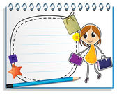 A notebook with a drawing of a girl holding bags — Stock Vector