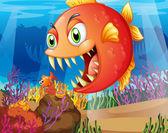 A predator and a prey under the sea — Stock Vector