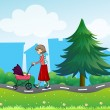 Girl with baby stroller along road — Stock Vector #24610989