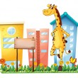 Stock Vector: Giraffe standing beside empty wooden signboard