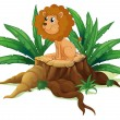 Stock Vector: A little lion sitting above the wood