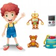 A young boy and his toys — Stock Vector