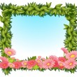 Stock Vector: A framed leaves with pink flowers