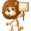 A lion holding an empty sign board - Stock Vector