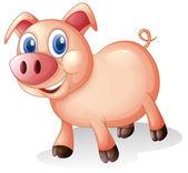 Ett fett och leende gris — Stockvektor