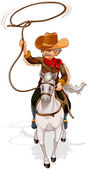 A cowboy riding a horse while holding a rope — Stock Vector