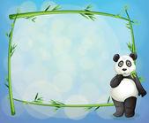 A panda beside a framed bamboo tree — Stock Vector