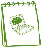 A green notebook with a drawing of a laptop — Stock Vector