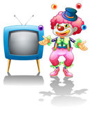 A clown standing near the T.V. — Stock Vector