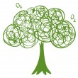 A drawing of a green tree - Stock Vector