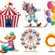 A circus tent, clowns, ferris wheel, balloons and a ring of fire - Stock Vector