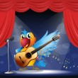A bird performing above the stage - Stock Vector