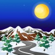 A road in an area with snowflakes - Stock Vector