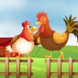 Royalty-Free Stock Vector Image: A hen and a rooster above the fence with a wooden house at the b