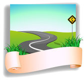 A road with a signage — Stock Vector
