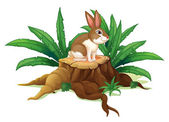 A rabbit sitting above a trunk — Stock Vector