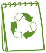 A notebook with a drawing of a recycle sign — Vector de stock