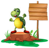 A trunk with a turtle near the wooden signboard — Stock Vector