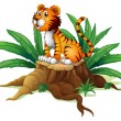 A big tree with a tiger — Stock Vector