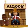 Stock Vector: Mholding gun outside saloon bar