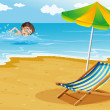 A boy swimming at the beach with an umbrella and a bed — Stock Vector