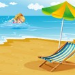 A girl swimming at the beach with a chair and an umbrella at the - Stock Vector