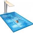 A swimming pool with a young boy — Stock Vector #24927043
