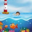 A boy swimming at the beach with a lighthouse — Stock Vector