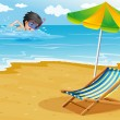 A boy swimming at the beach with an umbrella and a foldable bed — Vector de stock