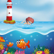 A boy swimming with fishes and corals at the beach — Stock Vector