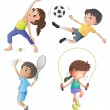 Two young girls exercising and two young boys playing — Stock Vector