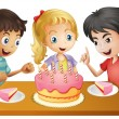 A table with cake surrounded by three kids - Stock Vector