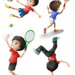 Four boys playing different sports - Stock Vector