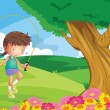 Royalty-Free Stock Vectorafbeeldingen: A girl playing jumping rope at the hill