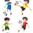 Four soccer players in different uniforms — Stock Vector