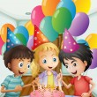 Stock Vector: Three kids celebrating a birthday