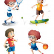 Four boys performing different sports — Stock Vector