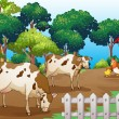 A farm with animals inside the fence — Stock Vector