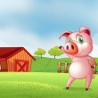 A pig at the farm pointing the barn house — Stock Vector