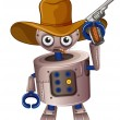 A toy robot holding a gun - Stock Vector