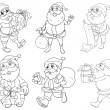 Different drawings of Santa Claus giving gifts - Stock Vector