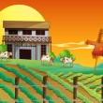 A farm with cows and a scarecrow — Stock Vector #24927815