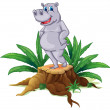 A hippopotamus standing on a stump with leaves - Stockvektor