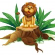 A lion sitting on a stump with leaves — 图库矢量图片
