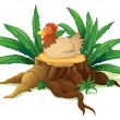 Stock Vector: Chicken above stump