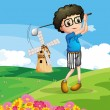 A boy playing golf — Stock Vector