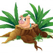 A pig lying down above the wood — Stock Vector