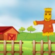 A scarecrow inside the wooden fence — Stock Vector #24928053