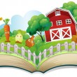 A book with an image of a farm - Stock Vector